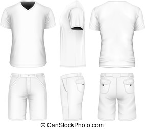 Men's bermuda shorts and v-neck t-shirt. Vector...