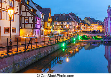 Christmas Little Venice in Colmar, Alsace, France -...