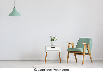 Cupboard with plant - Photo of white wooden cupboard with...