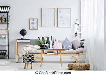 Pastel room with sofa