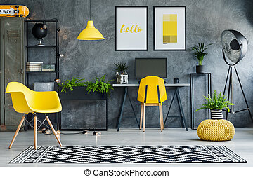 Study space with metal furniture - Study space with concrete...