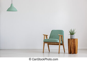 Room with mint lampshade - Armchair and potted plant in a...
