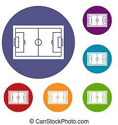 Soccer field icons set