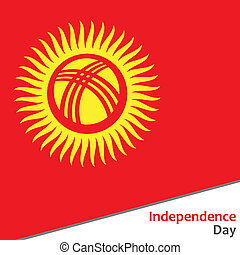 Kyrgyzstan independence day with flag  illustration for web