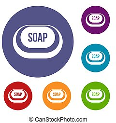 Soap icons set in flat circle reb, blue and green color for...