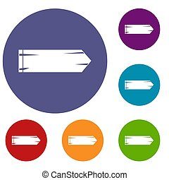 Thick arrow icons set in flat circle reb, blue and green...