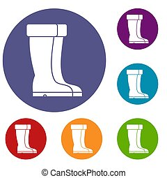 Winter shoes icons set in flat circle reb, blue and green...