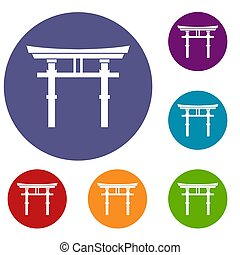 Japanese torii icons set in flat circle reb, blue and green...
