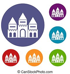 Children house castle icons set in flat circle reb, blue and...