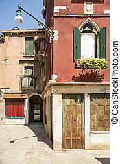 Old Venice street - Old buildings and street in Venice,...
