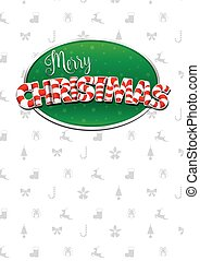 Merry Christmas lettering. White cover of greeting card with...
