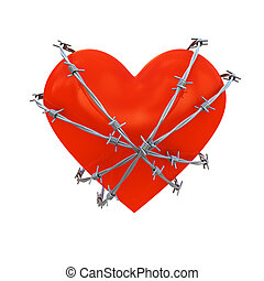 Heart wrapped with barbed wire - Heart shape wrapped with...