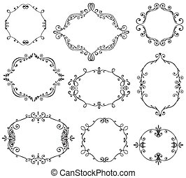 Set of hand drawn frames with vignette, branches leaves, berries.