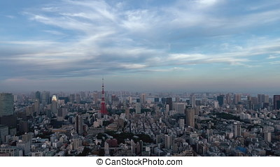 Landscape of Tokyo that will be night from evening - Time...