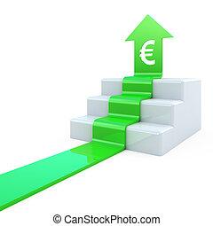 Euro arrow upstairs