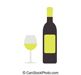 Bottle of wine with glass