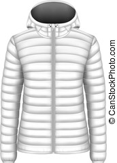 Women's hooded insulated down jacket. Vector illustration.