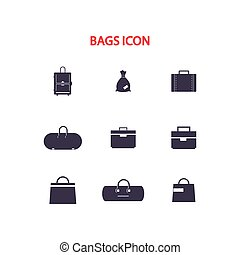 Set of simple vector icons bags.