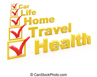 Insurance checklist - Health Insurance, Travel Insurance,...