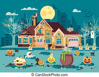 Vector illustration cartoon house with courtyard decorated...
