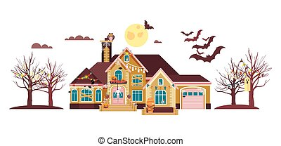 Vector illustration isolated cartoon house decorated...