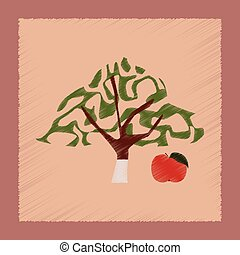 flat shading style Illustrations plant Malus - flat shading...