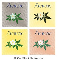 assembly flat shading style icon flower Anemone - assembly...
