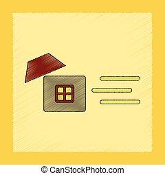 flat shading style icon wind destroys house - flat shading...