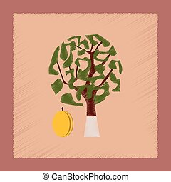 flat shading style Illustrations plant Prunus - flat shading...