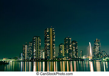 night city - cityscape of night Tokyo, modern district...