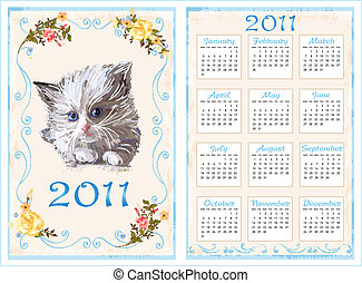 vintage pocket calendar 2011 with kitten. 70 x105 mm
