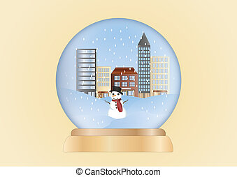 christmas ball-winter scene