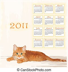 hand drawn calendar 2011 with lying ginger kitten