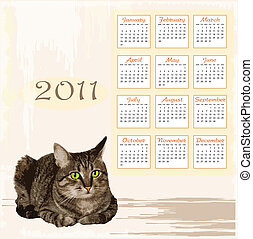 hand drawn calendar 2011 with lying tabby cat