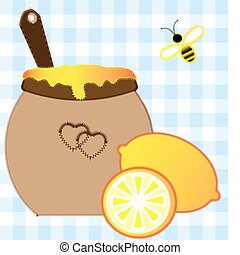 lemon and honey2jpg - on a light background imitation of...