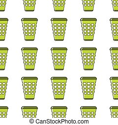 Green garbage can seamless pattern in cartoon style isolated on white background vector illustration