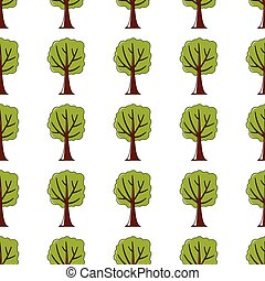 Green tree seamless pattern in cartoon style isolated on white background vector illustration