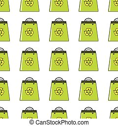 Green bag seamless pattern in cartoon style isolated on white background vector illustration