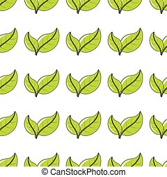 Green leaves seamless pattern in cartoon style isolated on white background vector illustration