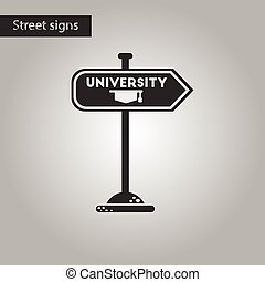 black and white style icon University sign