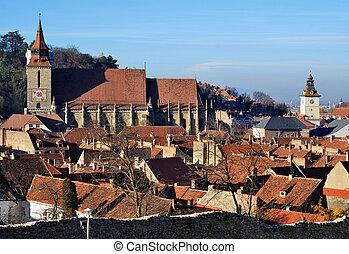 Old center of Brasov, Romania - Old center of Brasov city...