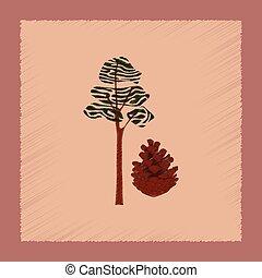 flat shading style Illustrations plant Pinus - flat shading...