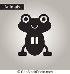 black and white style icon frog cartoon