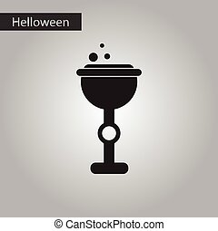black and white style icon halloween cup potion - black and...