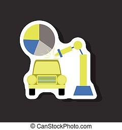 paper sticker on stylish background Automotive industry