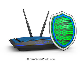 shield and router - Green shield and a router. 3d rendering....