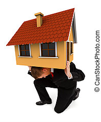Business man holding house on his back - Man holding a house...