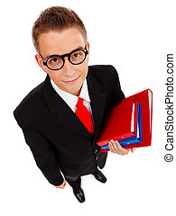 Young man with folders