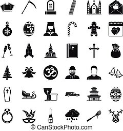 Temple icons set, simple style - Temple icons set. Simple...