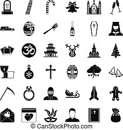 Christianity icons set, simple style - Christianity icons...